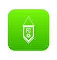 pennant with soccer ball icon digital green vector image vector image