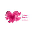 pink heart shape on white background with copy vector image