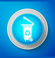 recycle bin with recycle symbol trash can icon vector image vector image