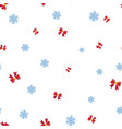 red bows and snowflake seamless pattern vector image