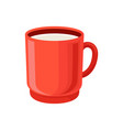 red cup of milk cartoon vector image
