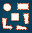 Retro road light empty signs banners with bulbs vector image