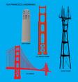 san francisco golden gate bridge and landmarks vector image vector image