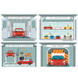 set of car service station vector image vector image
