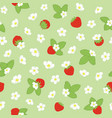 spring blossom and strawberry repeat floral vector image vector image