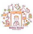 telemedicine and online doctor consultation with vector image