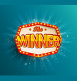 the winner retro banner with glowing lamps vector image vector image