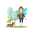 Walking a Dog Daily Routine Activities of Women vector image vector image