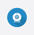 web camera Flat Blue Simple Icon with long shadow vector image vector image