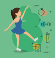 woman dancing with sports icons vector image vector image