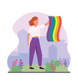 woman with rainbow flag to lgbt celebration vector image vector image