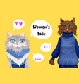 women s talk comics two women cat vector image vector image