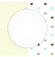 Yellow greeting card with hearts vector image vector image