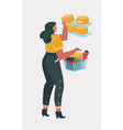 young woman shopping for groceries vector image