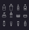 set of icons for bathroom tools in white lines vector image