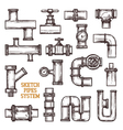 Sketch Pipes System vector image
