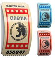 3d shiny curled cinema tickets vector image vector image