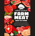 beef and pork meat bacon ham and chicken vector image