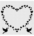 black retro heart shaped photo frame of hearts vector image vector image