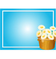 border template with white flowers in basket vector image vector image