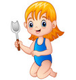 cartoon little girl holding a shovel vector image vector image