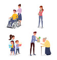 cheerful volunteers flat characters set vector image
