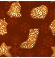 Christmas gingerbread seamless pattern vector image vector image