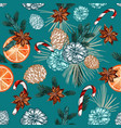 christmas seamless pattern with fur tree branches vector image