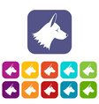 collie dog icons set vector image vector image