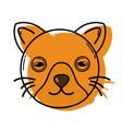 color cute cat head pet animal vector image