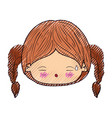 colored crayon silhouette of kawaii head little vector image vector image