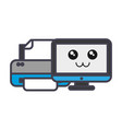 computer and printer icon vector image vector image