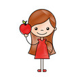 cute girl with apple character icon vector image vector image