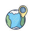 earth planet with point with location vector image vector image