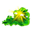 eco green city in paper art vector image vector image