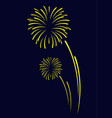 fireworks sign icon on black blue background for vector image