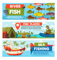 fisherman on fishing cartoon banners vector image vector image