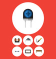 flat icon device set of bobbin resistor vector image vector image