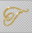 gold glitter powder letter t in hand painted style vector image vector image