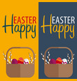 happy easter banner text with willow vector image