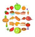 hot dog icons set cartoon style vector image