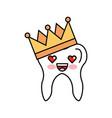 human tooth with crown kawaii character vector image vector image