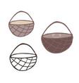 kawaii empty woven brown basket motif vector image vector image