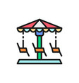 merry-go-round carousel swing flat color line vector image