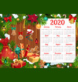 new year calendar with christmas gifts xmas tree vector image vector image