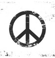 peace symbol with grunge texture black and white vector image vector image