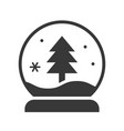 pine tree in snow globe merry christmas filled vector image vector image