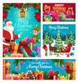 santa claus and elf helper winter holidays vector image vector image