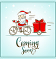 santa claus riding a bicycle with gift box is comi vector image
