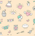 seamless pattern with hearts and love doodles vector image vector image
